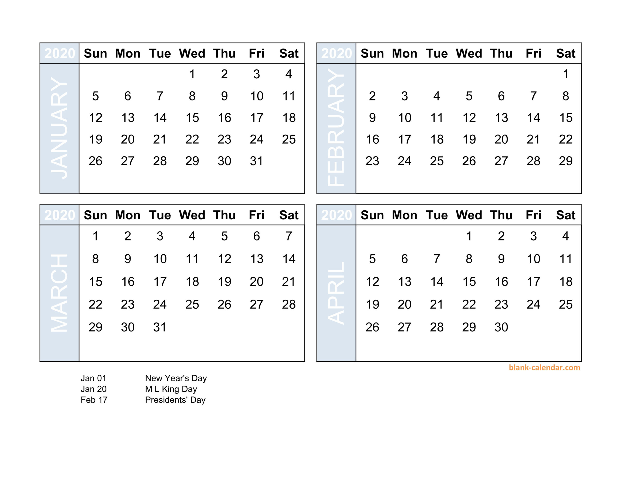 Four Month Printable Calendar 2020   Calendar Template  Four Month Calendar Template
