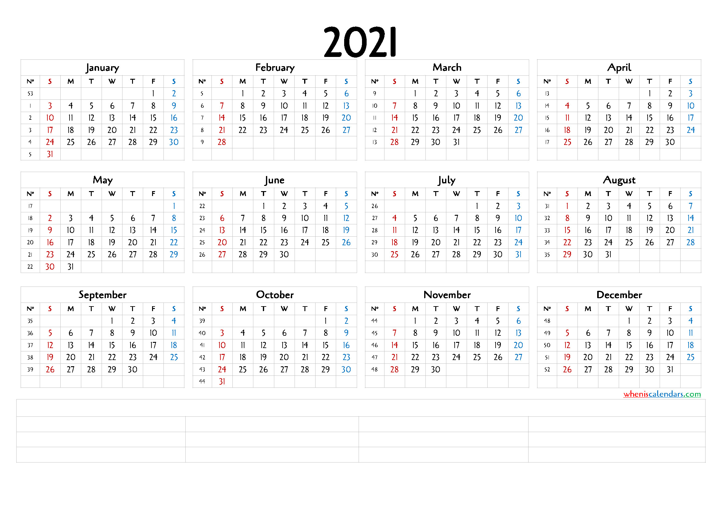 Free 12 Month Word Calendar Template 2021 : Editable  Free 12 Month Editable Calendars