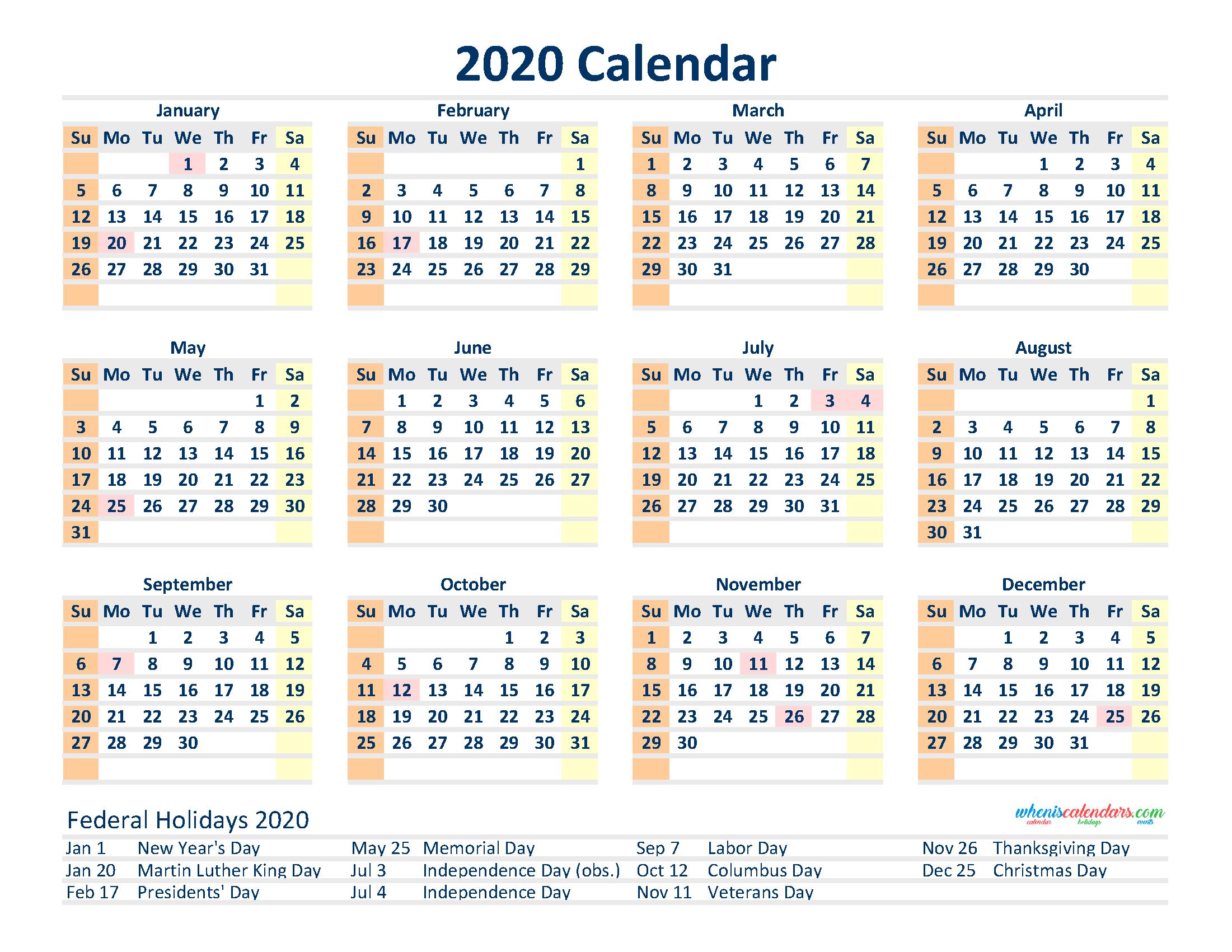 Free 2020 12 Month Calendar Printable Pdf, Excel, Image  12 Month Printable Calendar Template