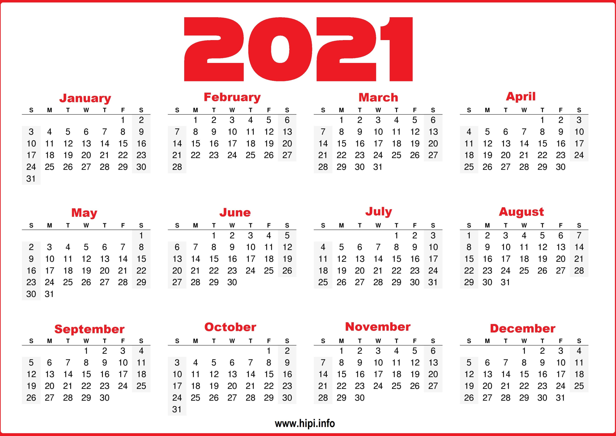 Free 2021 Yearly Calender Template / 12 Month Colorful  2021 12 Month Calendar Printable Free Pdf