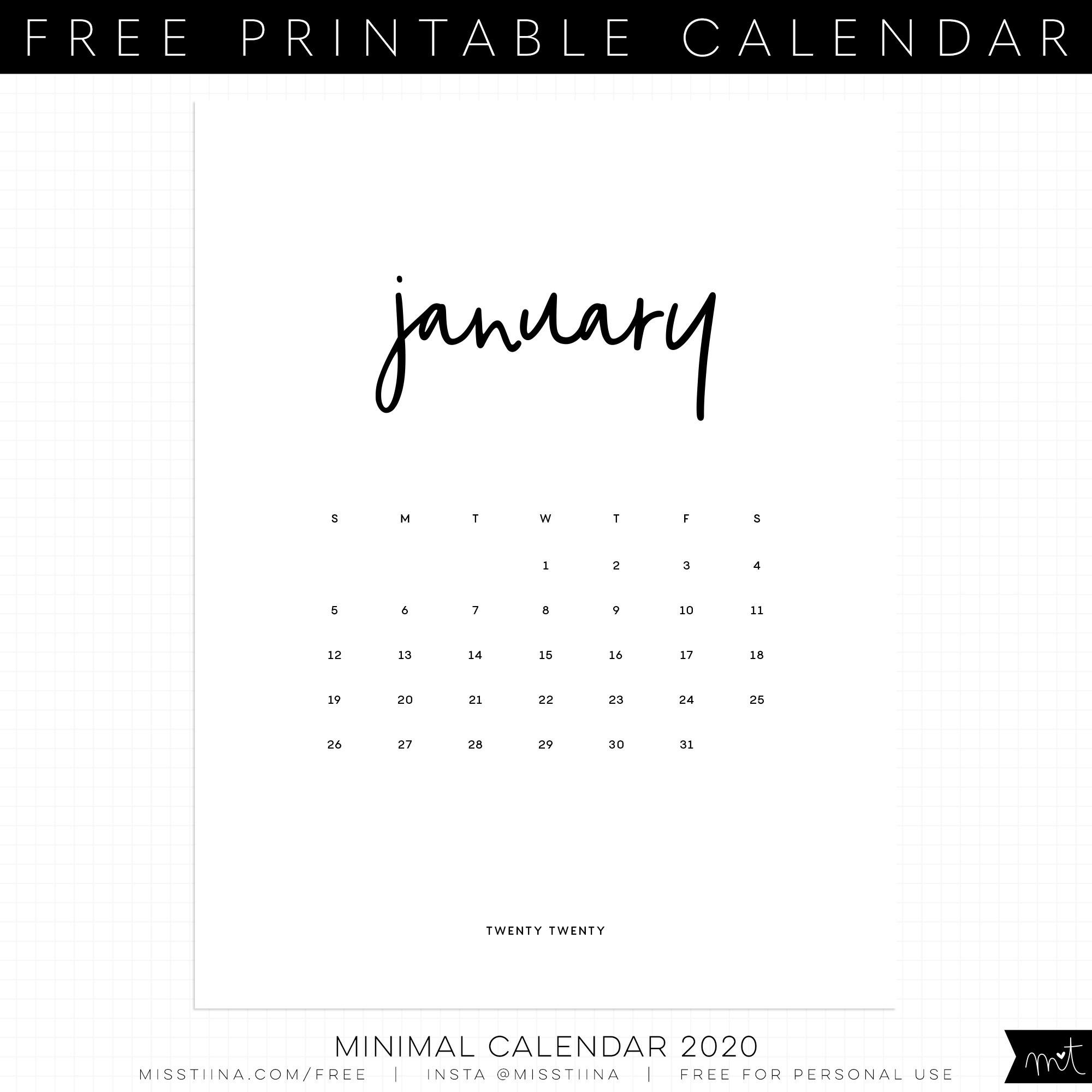 Free 4X6 Printable Calendar 2020 - Template Calendar Design  Printable 4X6 Calendar Template