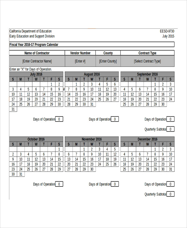 Free 8+ Sample Fiscal Calendar Templates In Excel| Pdf  Financial Year Calendar Excel