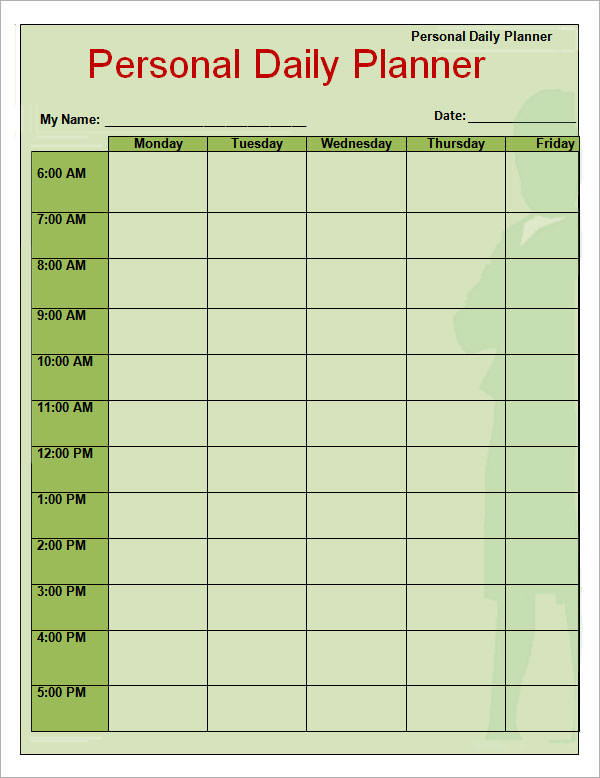 Free 9+ Printable Daily Planner Templates In Google Docs  Seven Day Editable Planner