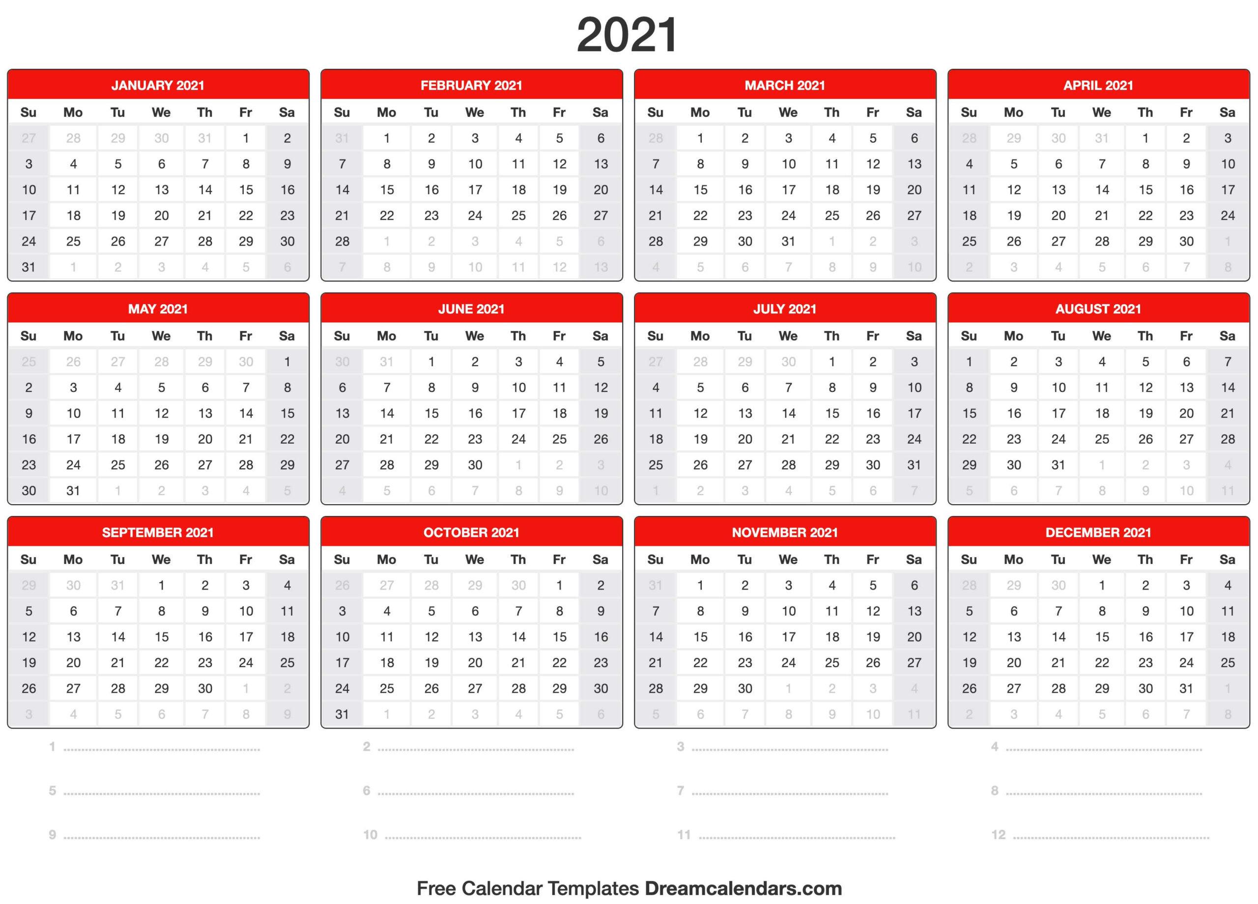 Free Blank Printable Monthly Calendar 2021 | Calendar  Fillable 2021 Calendar Template