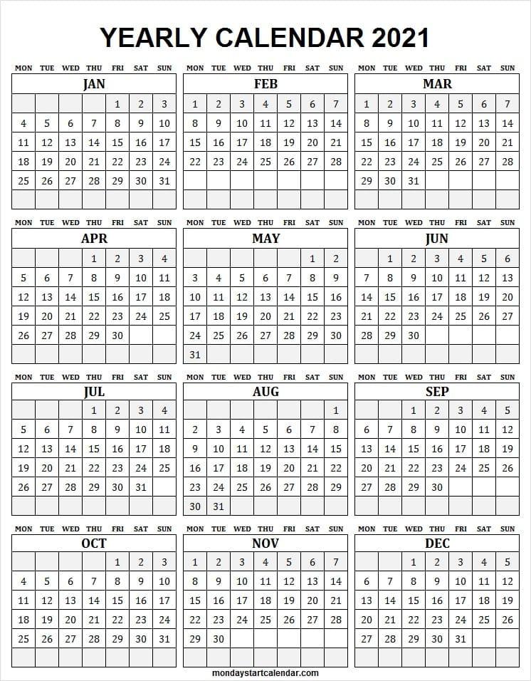 Free Downloadable 2021 Word Calendar / 2021 Printable  Free 2021 Calendar Printable