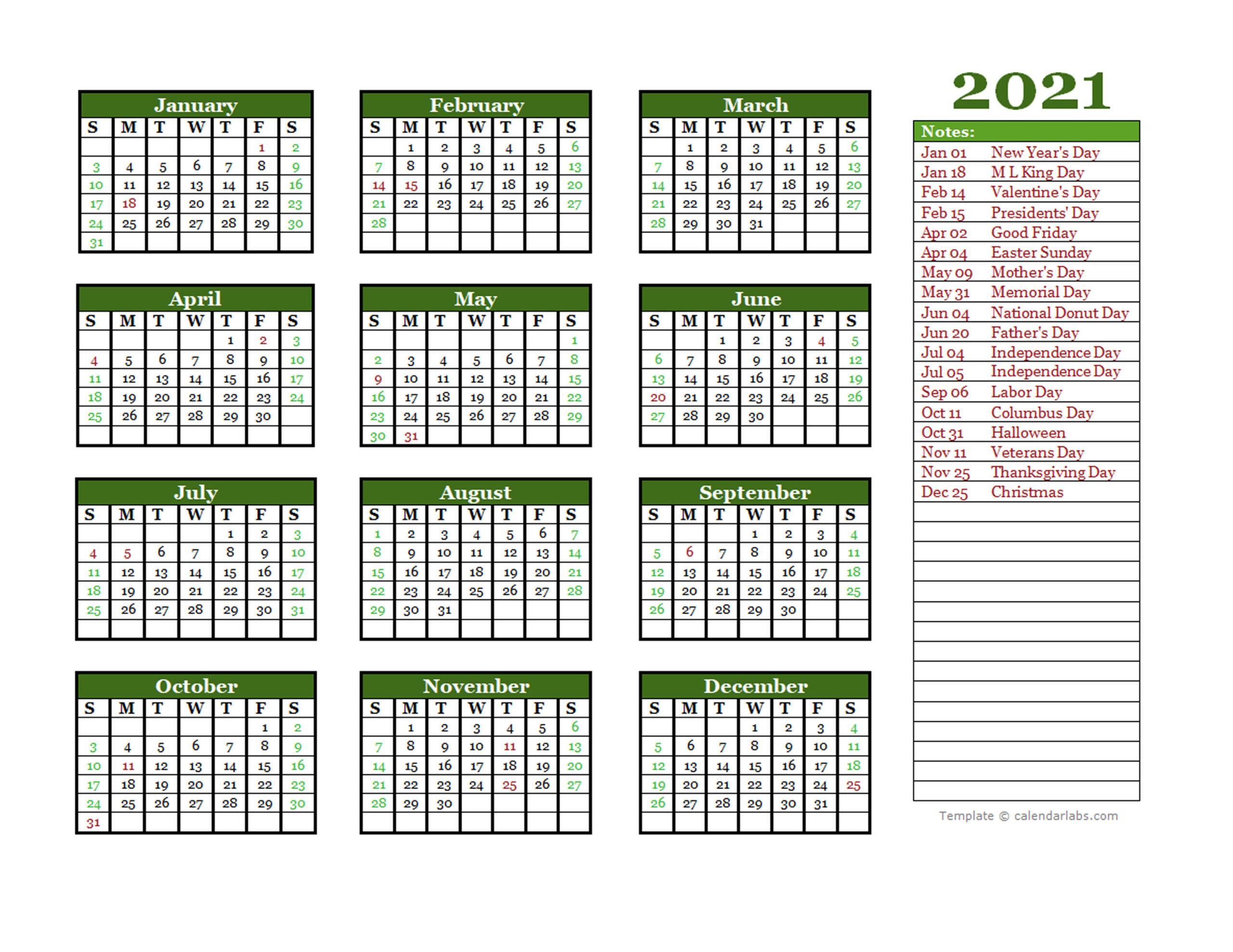 Free Editable 2021 Yearly Word Calendar - Free Printable  Julian Calendar 2021 Excel