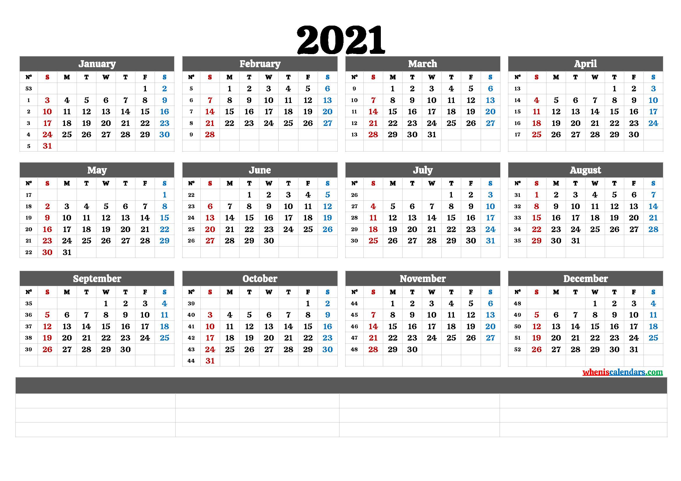Free Editable Weekly 2021 Calendar : Free Fully Editable  2021 Yearly Calendar Printable Free