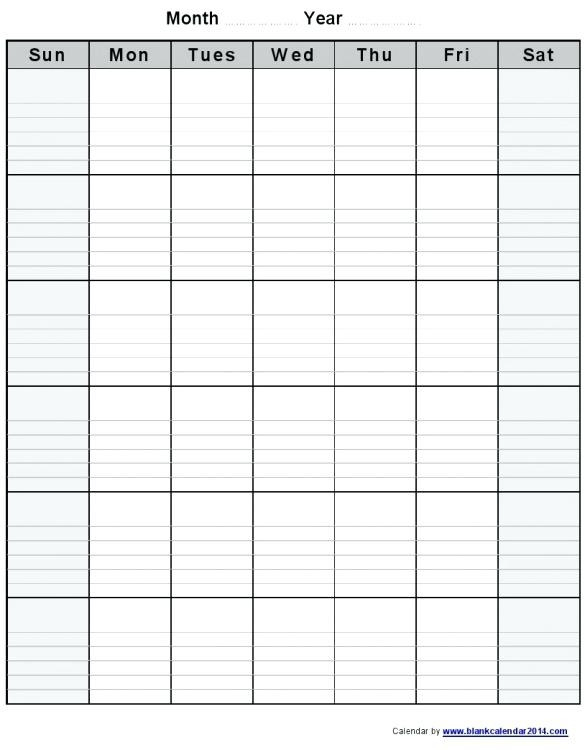 Free Lined Monthly Printable Calendar Template :-Free  Full Size Blank Printable Calendar