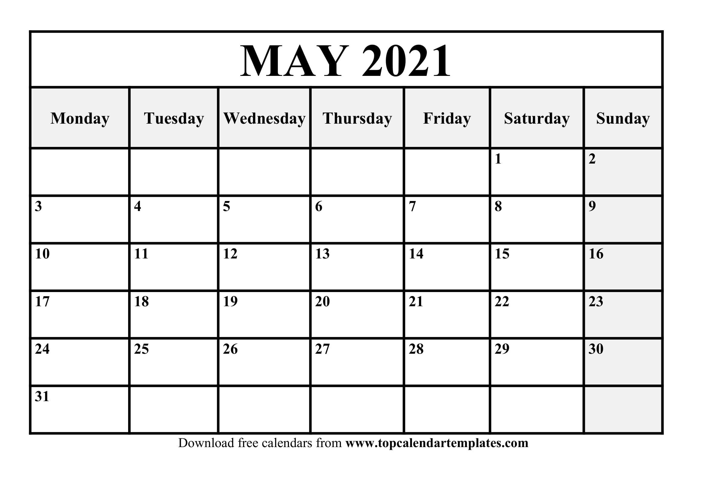 Free May 2021 Printable Calendar In Editable Format  Editable Monthly Calendar Printable