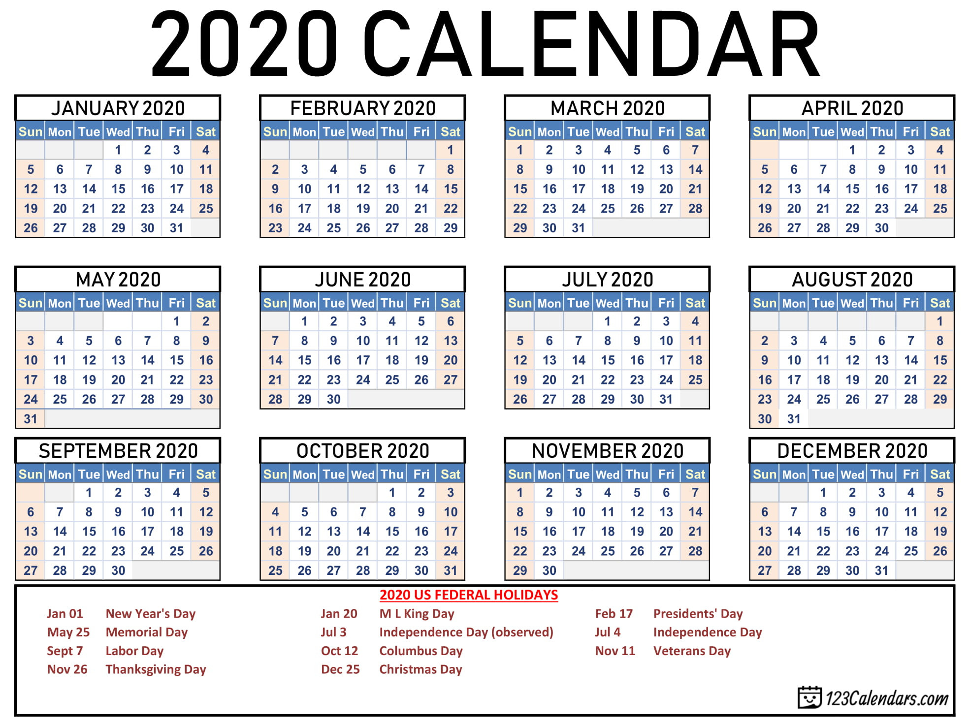 Free Printable 2020 Calendar   123Calendars  Large Printable Calendar