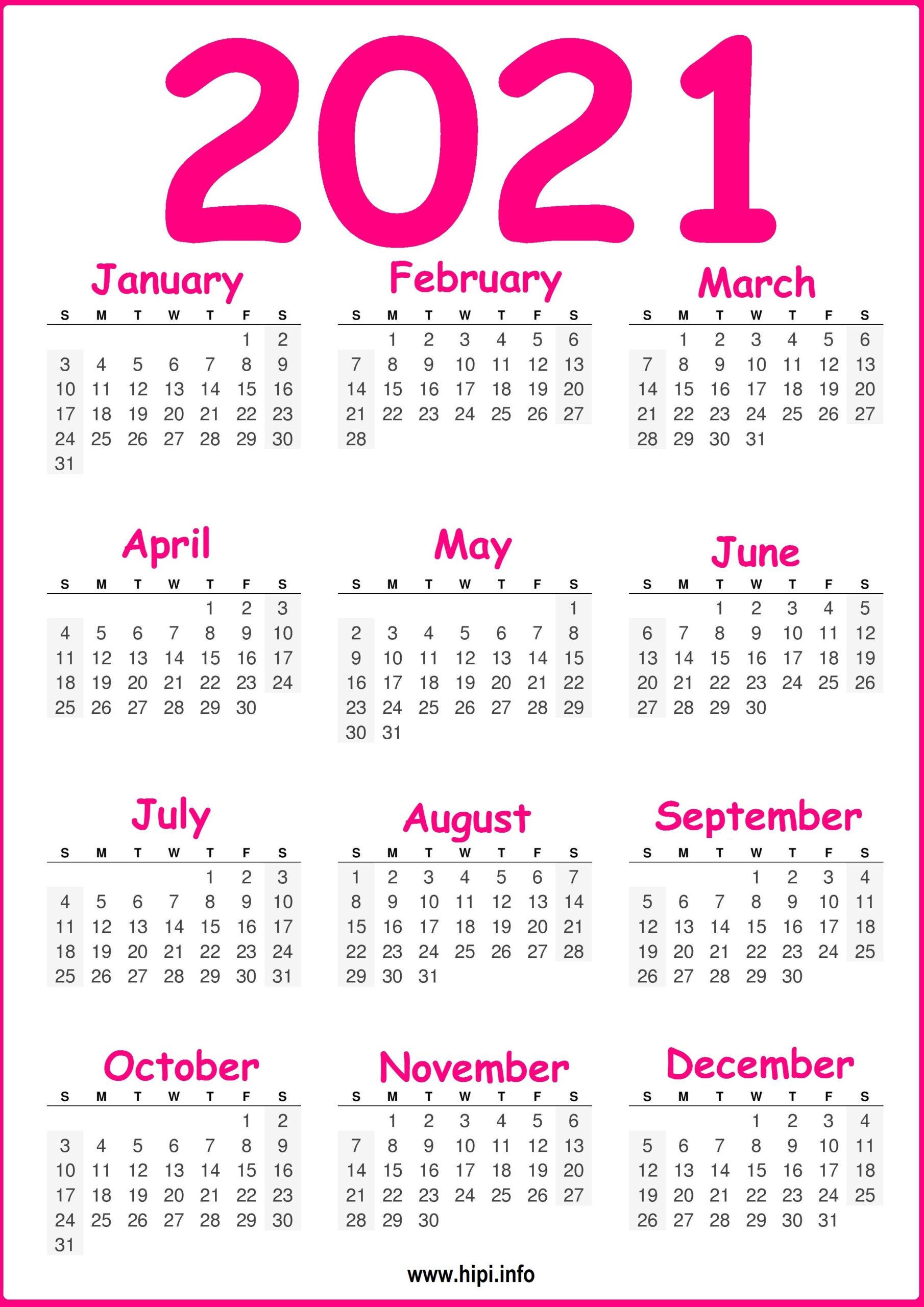 Free Printable 2021 Calendar, Pink And Green - Hipi  Free 2021 Calendar Printable