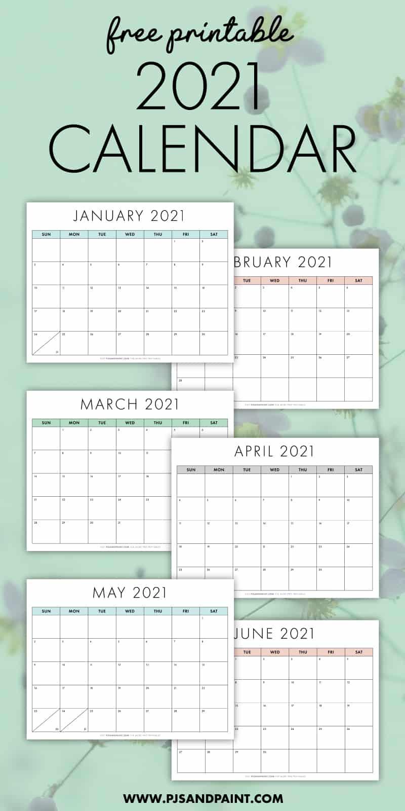Free Printable 2021 Calendar - Sunday Start - Pjs And Paint  2021 2021 Monthly Calendar Printable Free