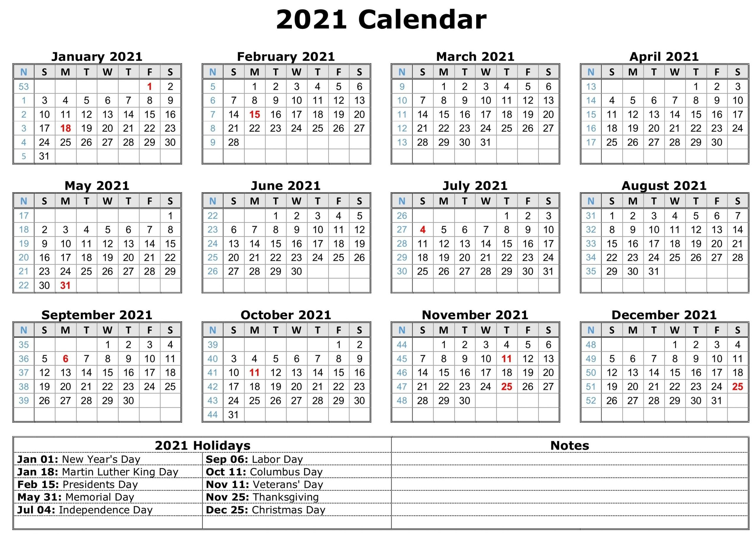 Free Printable 2021 Calendar-Year   Calendar Template  Blank 2021 2021 Calendar Template