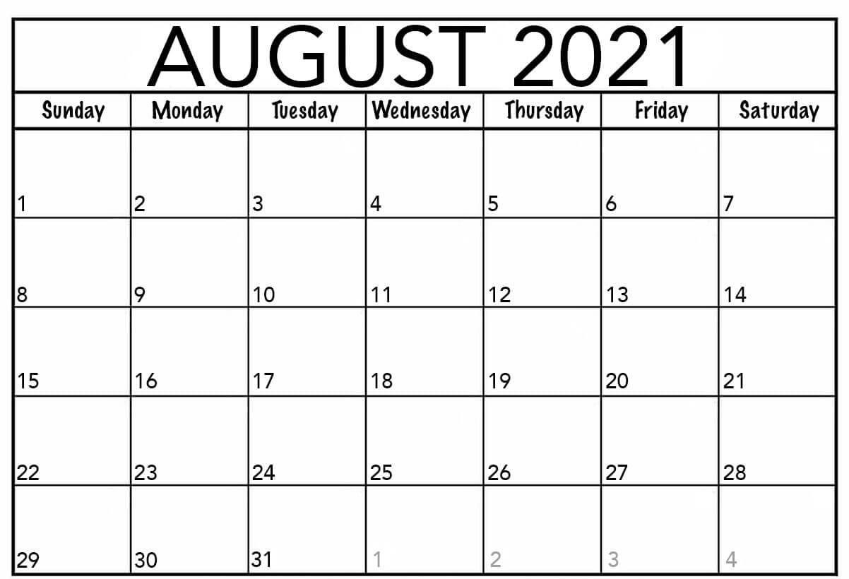 Free Printable 2021 Monthly Calendar Templates  August 2021 To December 2021 Calender
