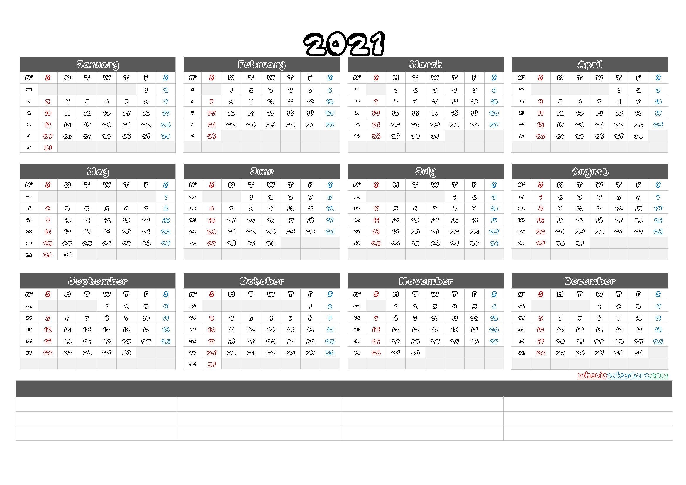 Free Printable 2021 Yearly Calendar With Week Numbers (6  2021 Yearly Calendar Printable Free
