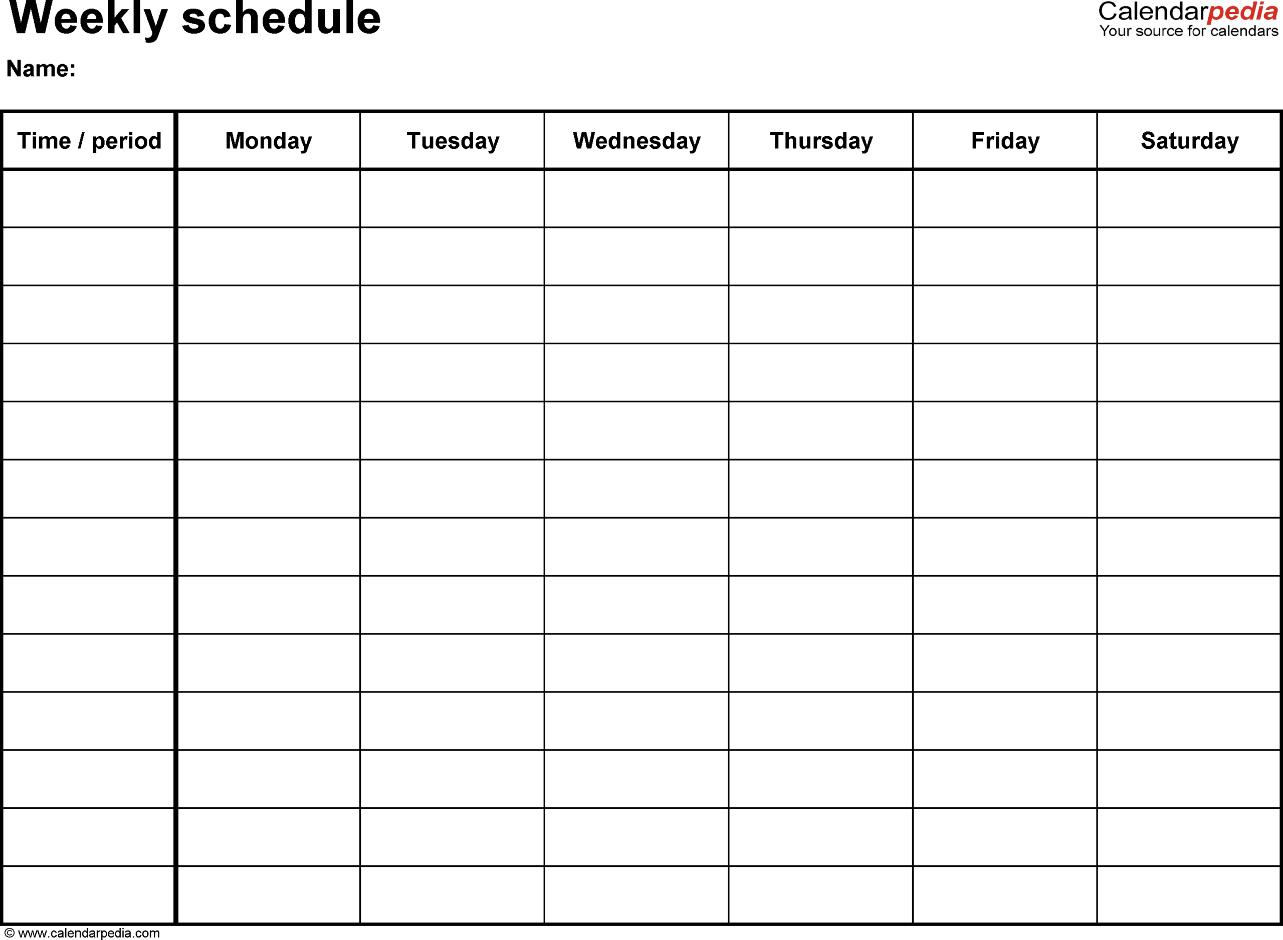 Free Printable 7 Day 15 Minute Appointment Calendar Sheets  Blank Weekly Schedule Template 7 Days