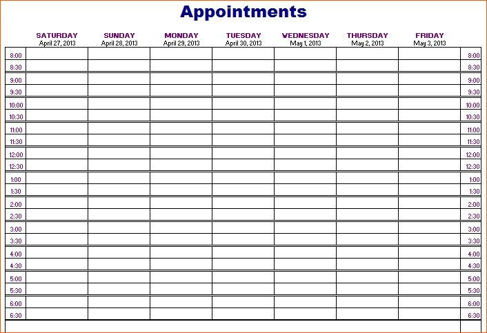 Free Printable Appointment Calendar Template  Monthly Appointment Calendar Free Printable