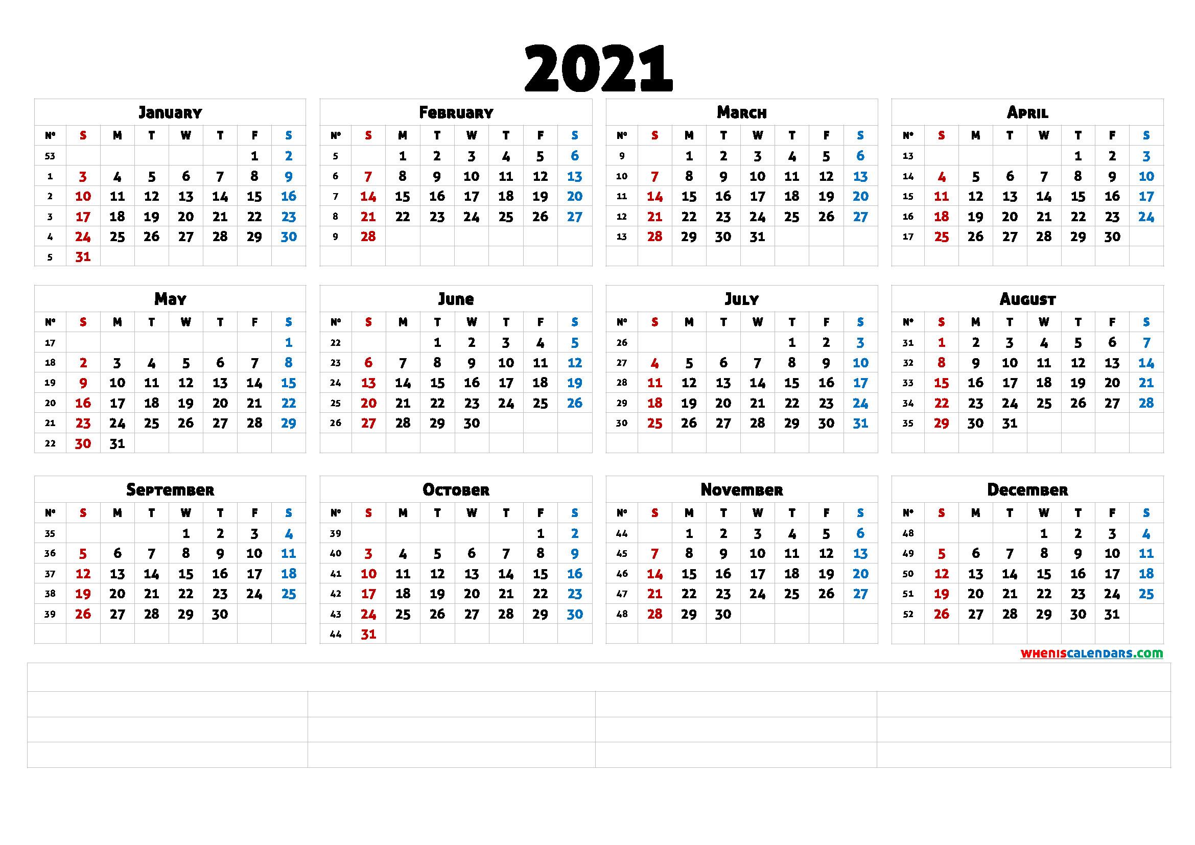 Free Printable Calendar Templates 2021 (6 Templates)  2021 12 Month Calendar Printable Free Pdf