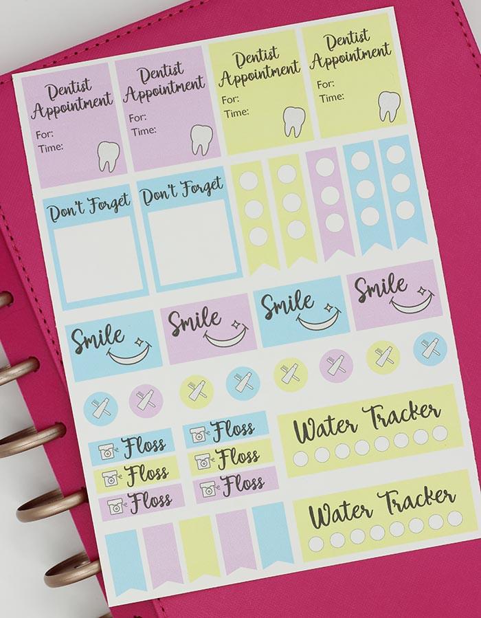 Free Printable Dental Reminder Planner Stickers | Sunny  Printable Planner Stickers Numbers 1 To 31