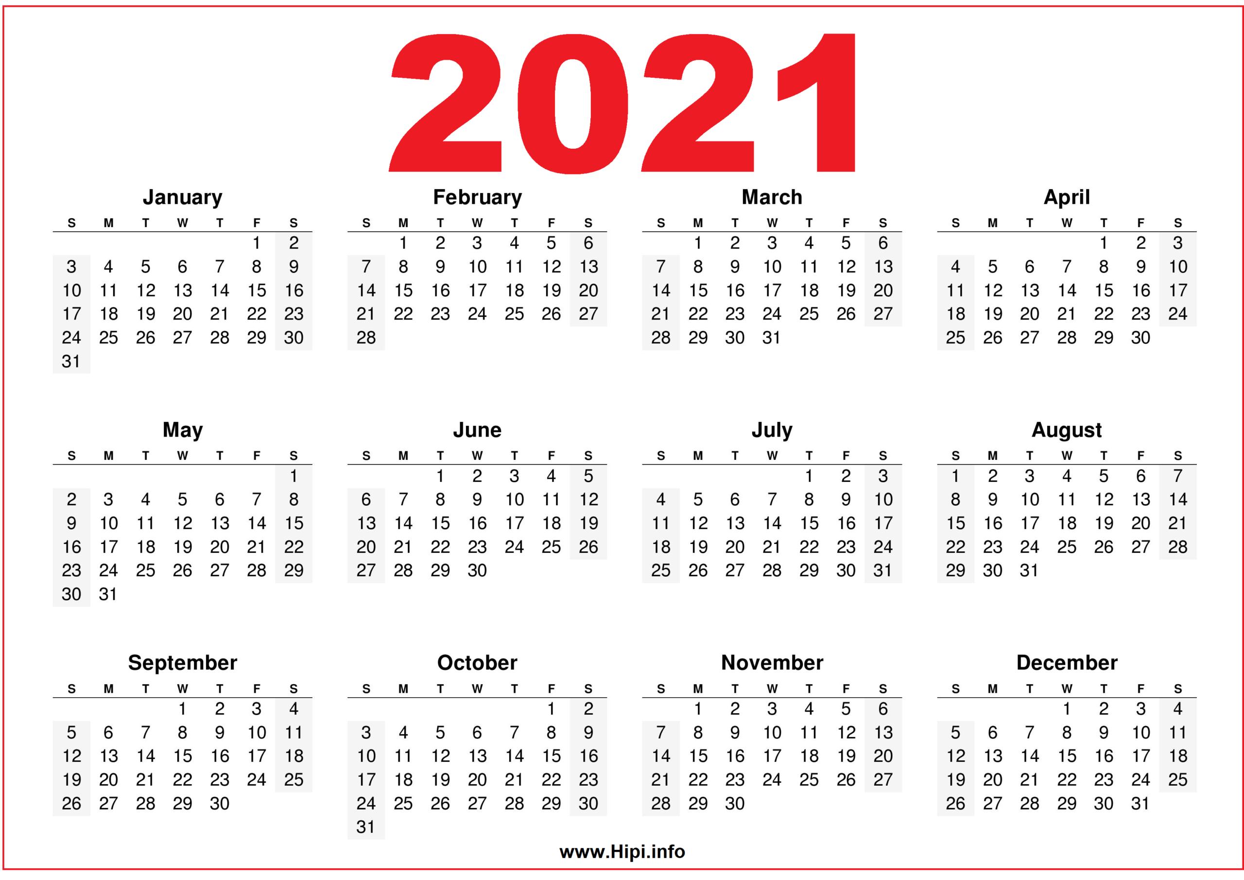 Free Printable Downloadable 2021 Calendars - Hipi  Free 2021 Calendar Printable