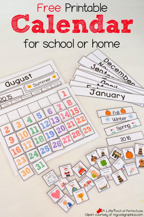 Free Printable Interactive Preschool Calendar | Preschool  Toddleer Calendar Daily Activties For June July August