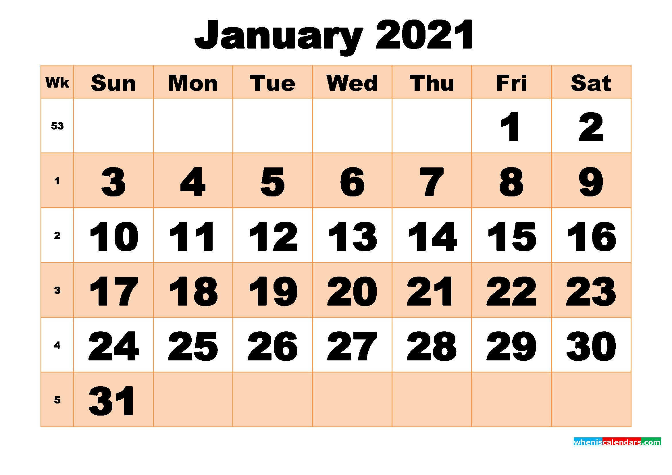 Free Printable January 2021 Calendar Template Word, Pdf  Word January 2021 Template