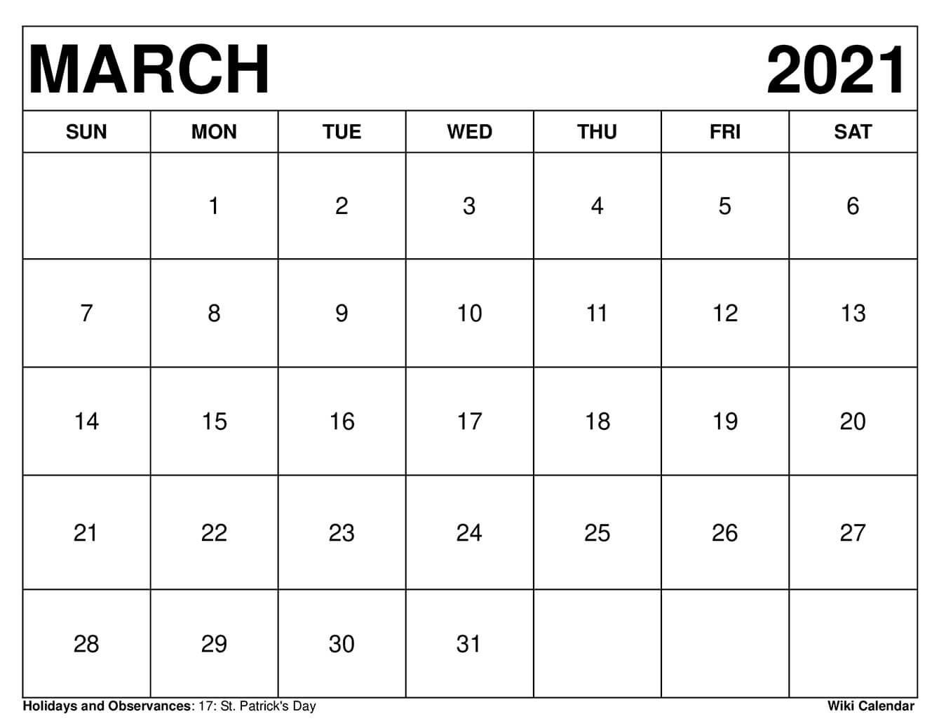 Free Printable March 2021 Calendars  Printable March 2021 Calendar Pdf