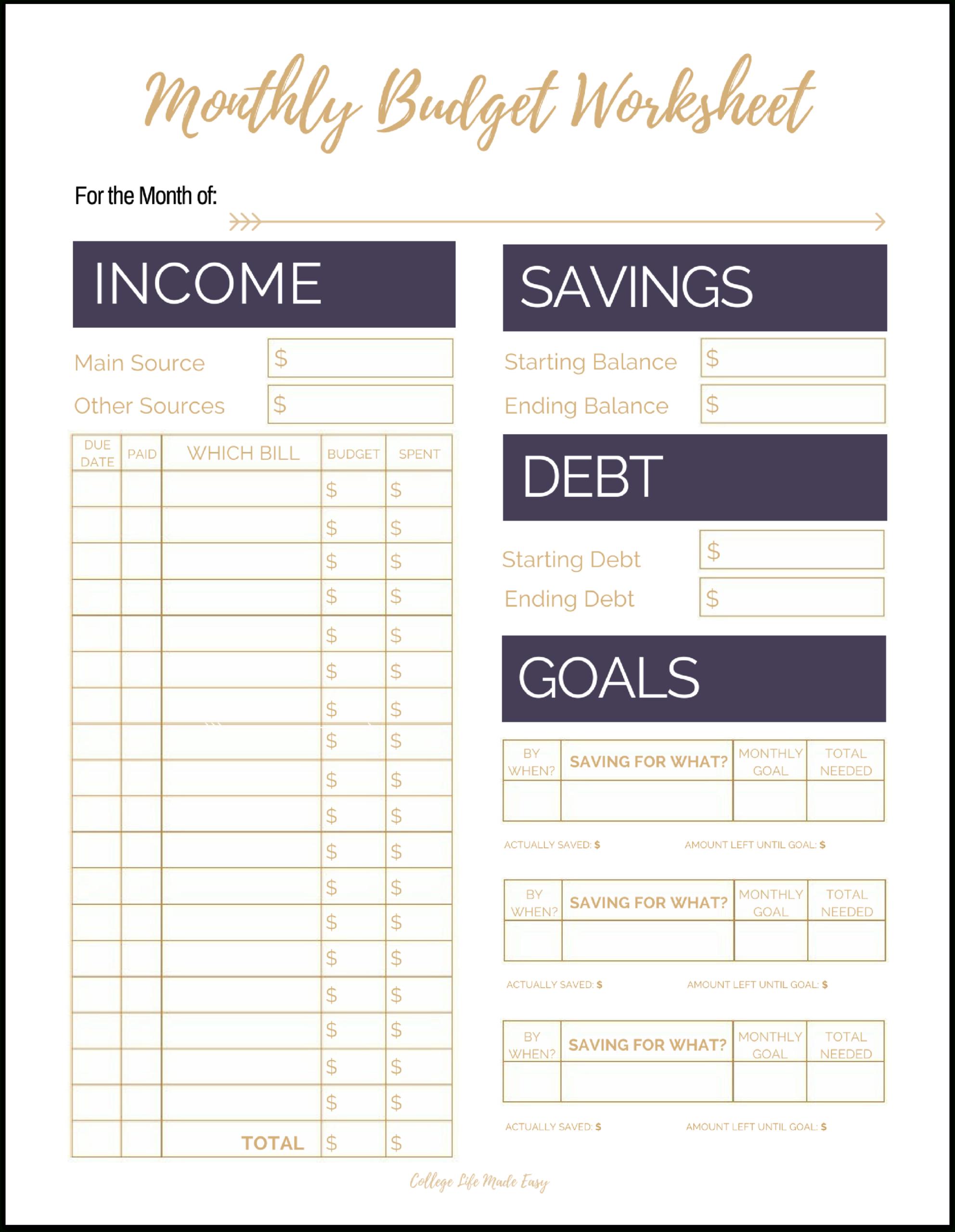 Free Printable Monthly Bills Worksheet | Printable Worksheets  Monthly Bills Spreadsheet Free Printable