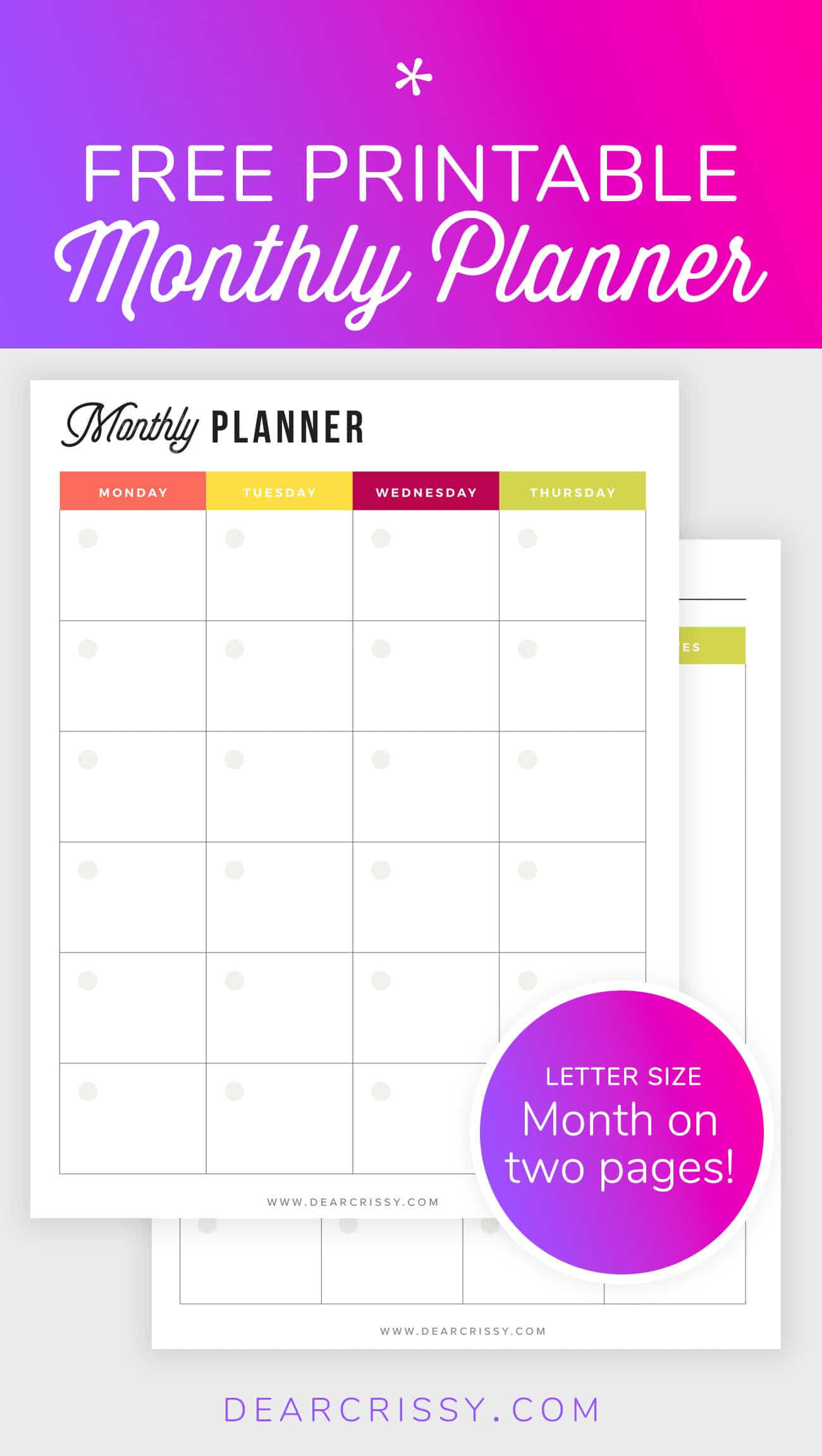 Free Printable Monthly Planner - Mo2P Letter Size Planner  Calender Monthly Print Outs