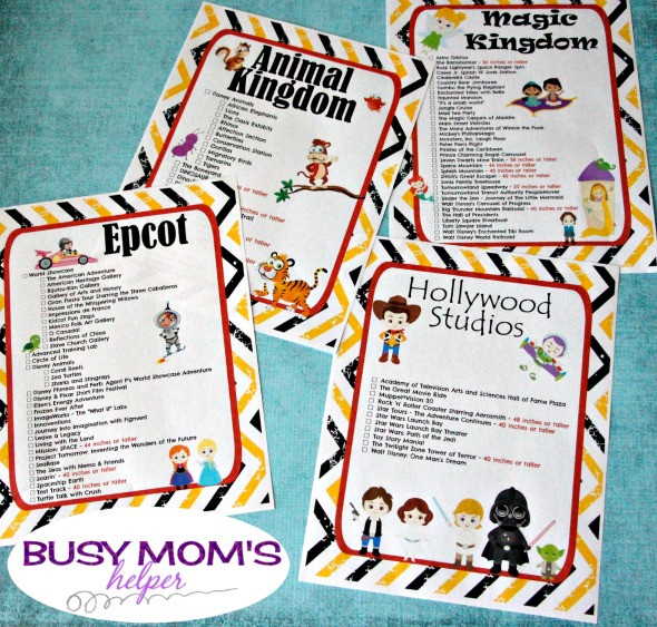 Free Printable Walt Disney World Ride Checklists - Busy  Printable List Of Disney World Rides 2021