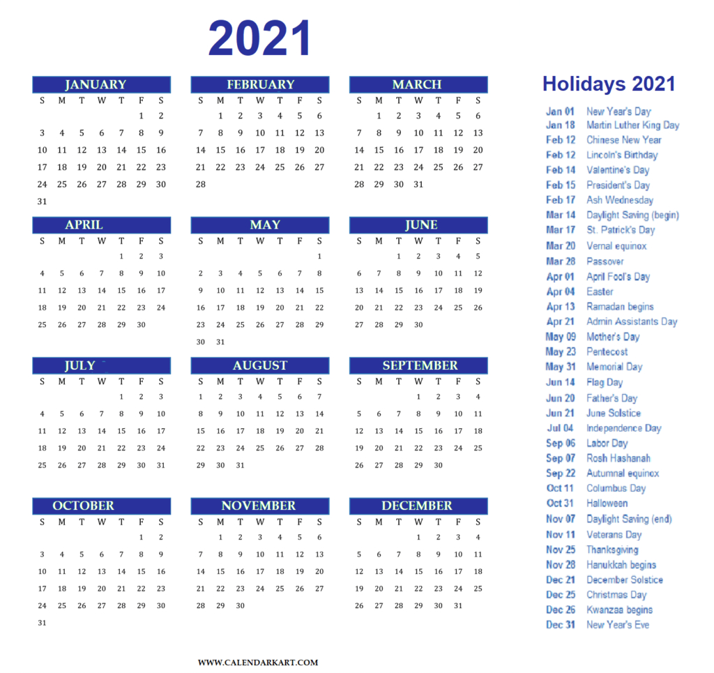 Free Printable Year At A Glance Calendar 2021 - Calendarkart  Easy To Print 2021 Calendar