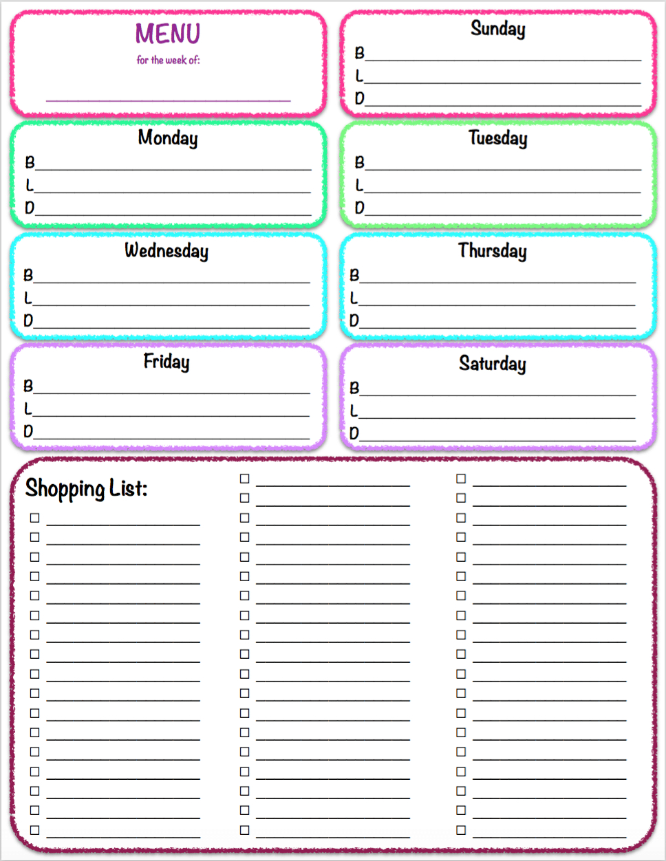 Free Printables: Weekly Meal Planner & Grocery List ~ The  Shopping List