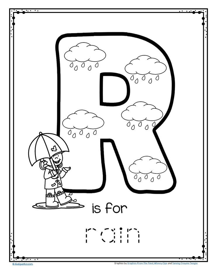 Free R Is For Rain Alphabet Trace And Color Printable #  Colour Filling Page For Grade R