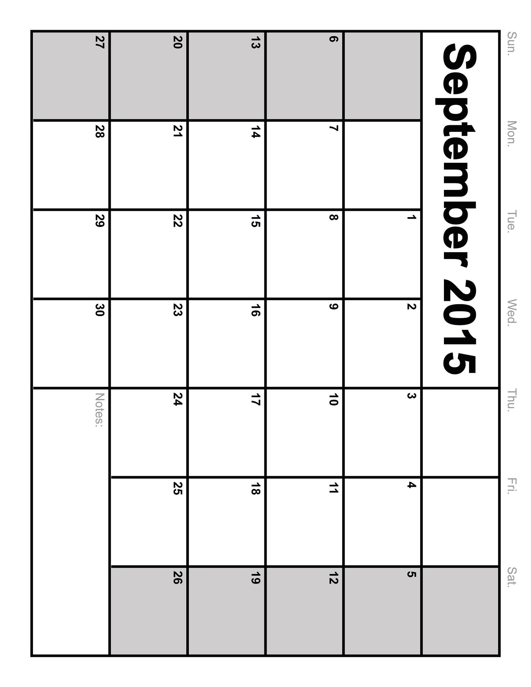 Full Size Printable Blank Calendar - Template Calendar Design  Large Printable Calendar