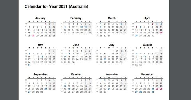 Full Year - 2021 Calendar  2021 2021 Financial Year Calendar Australia