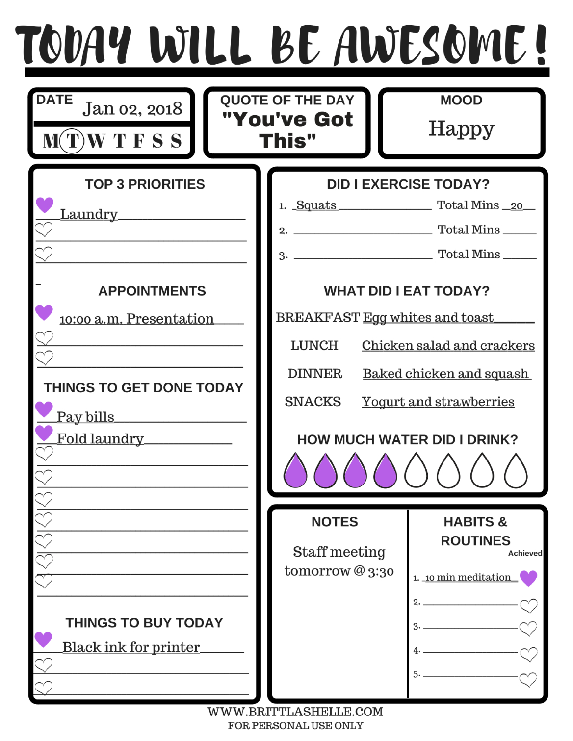 Goals Setting Worksheet - Daily Goals Worksheet Pdf  Fitness Challenge Worksheet Pdf
