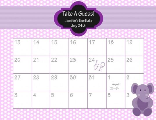Guess Baby Due Date Calendar | Printable Calendar Template  Depo Due Date Chart