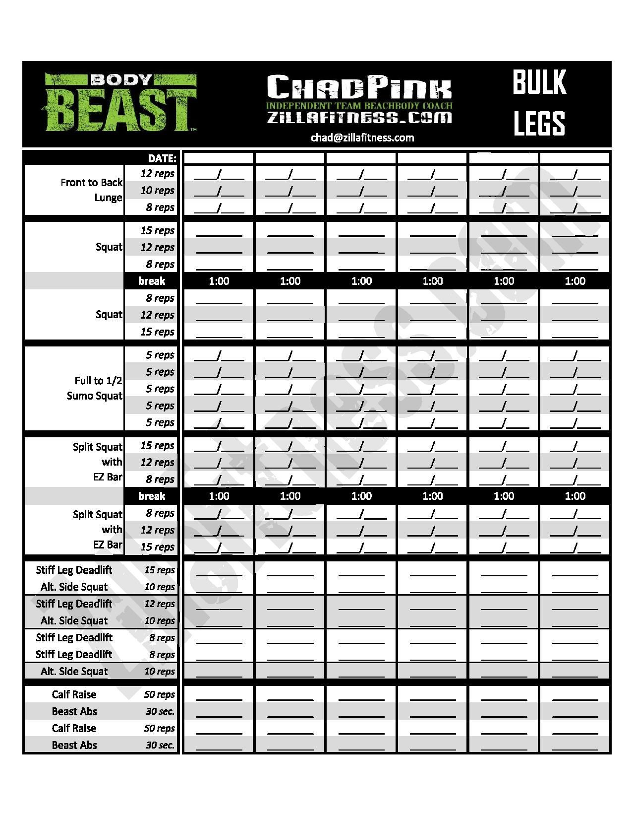 Improved Body Beast Worksheets - Free Download! (With  Fitness Challenge Worksheet Pdf