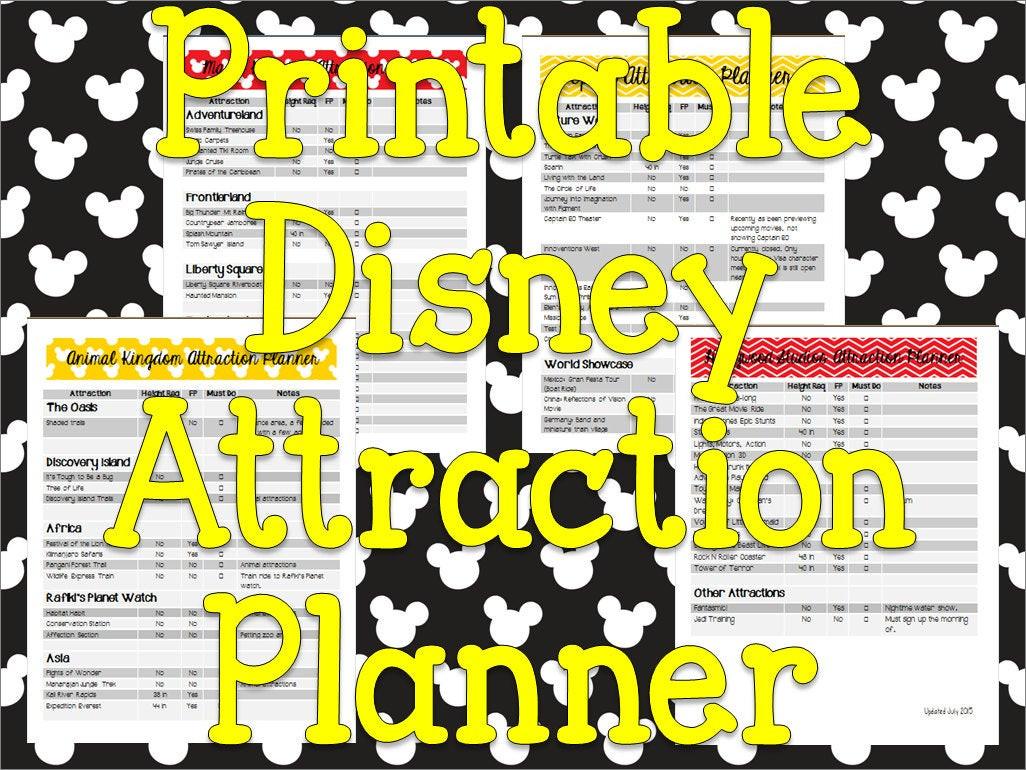 Instant Download Printable Disney Planner Attraction List And  Printable Attraction List Disney World