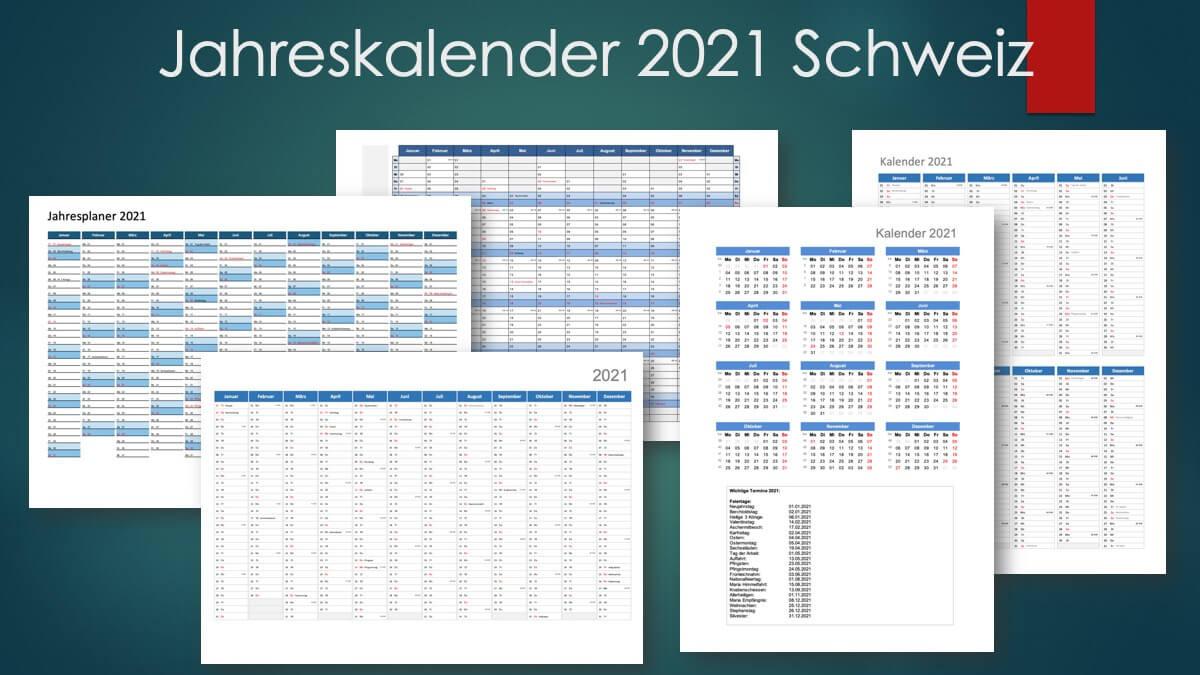 Jahreskalender 2021 Schweiz Excel Pdf Muster Vorlage Ch  Jahreskalenderblatt 2021 Zum Ausdrucken