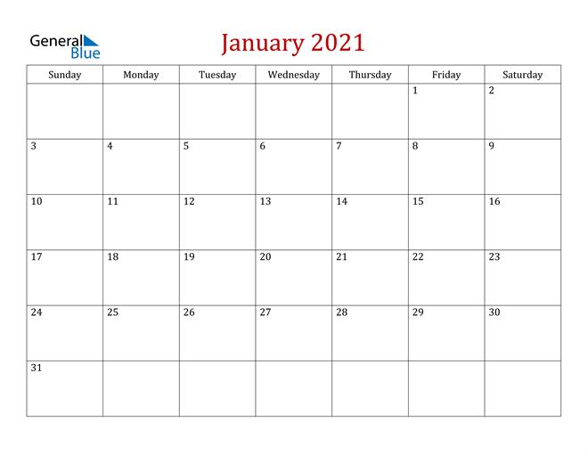 January 2021 Calendar - Pdf Word Excel  Word January 2021 Template