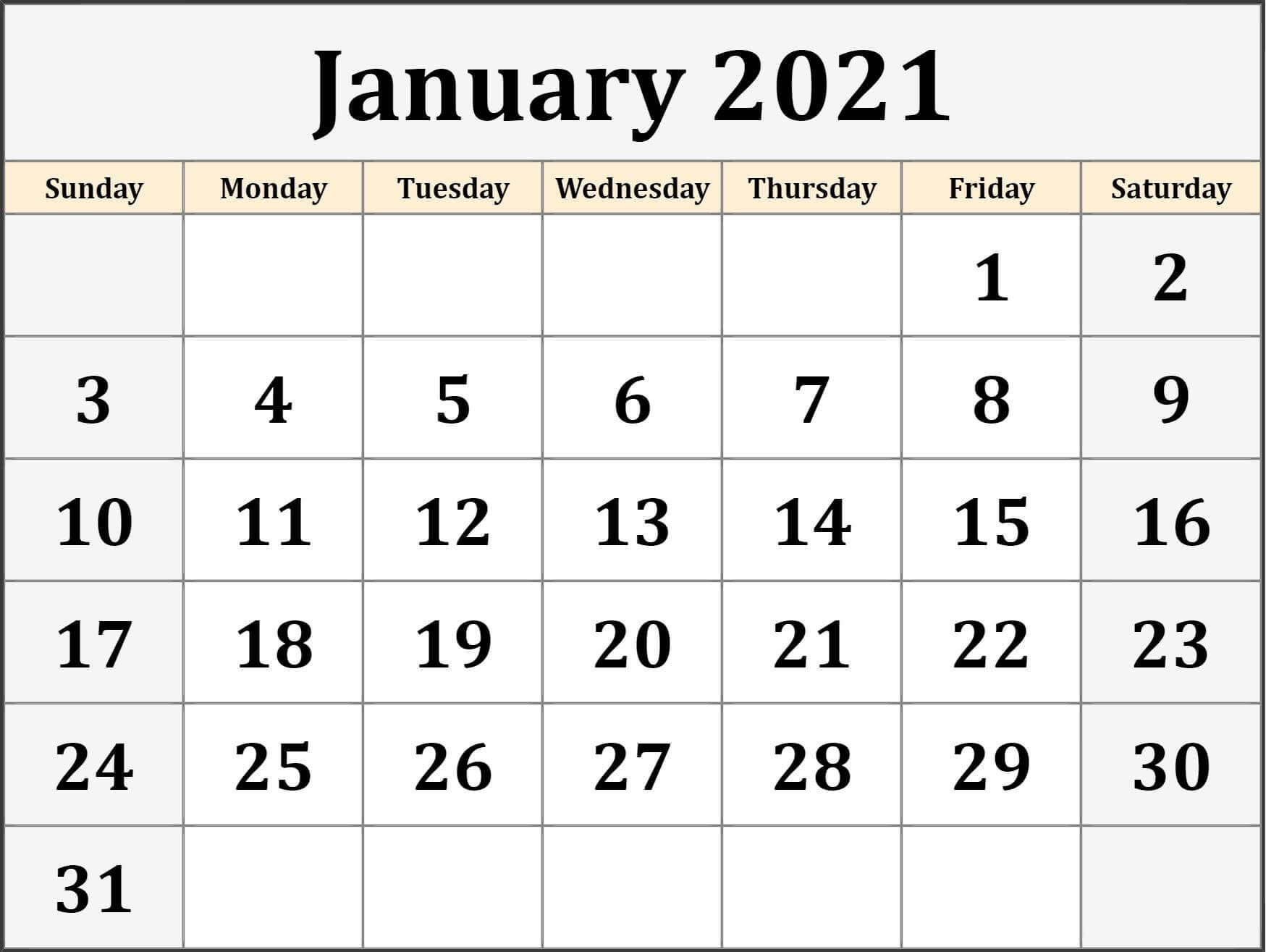 January 2021 Calendar Template Printable Holidays Images  Word January 2021 Template