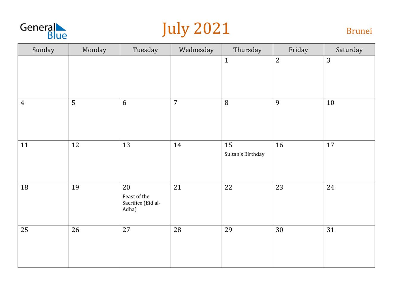 July 2021 Calendar - Brunei  Depoprecara Calendar  July 2021