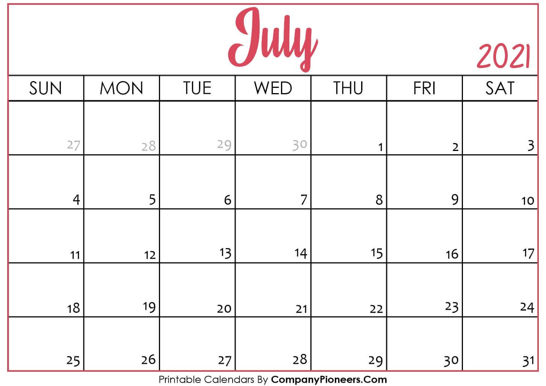 July 2021 Calendar Printable - Printable 2020 Calendars  Depoprecara Calendar  July 2021