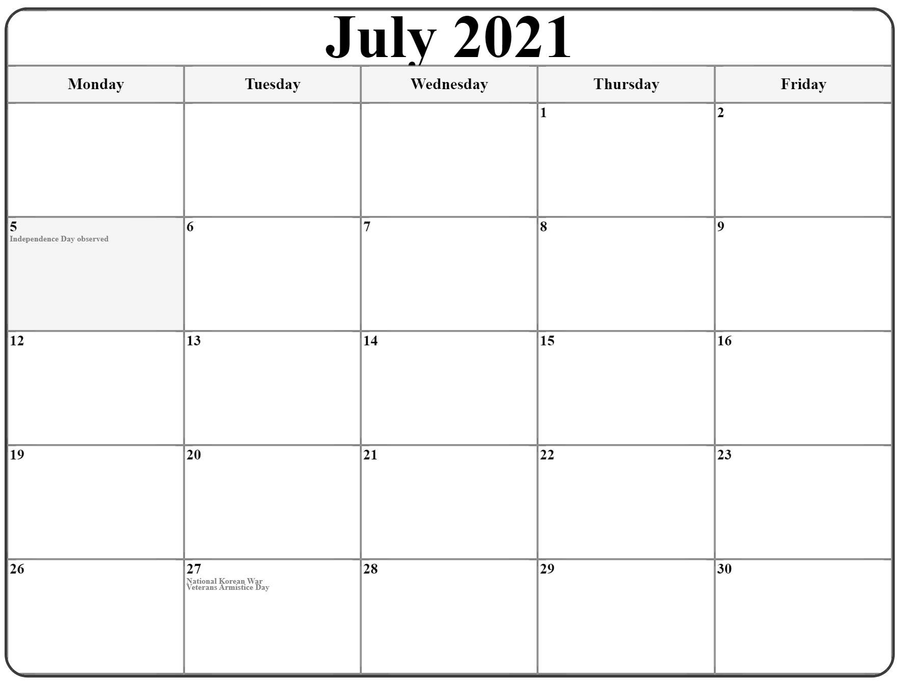 July 2021 Monday Calendar | Monday To Sunday  Monday Through Sunday Calendar 2021