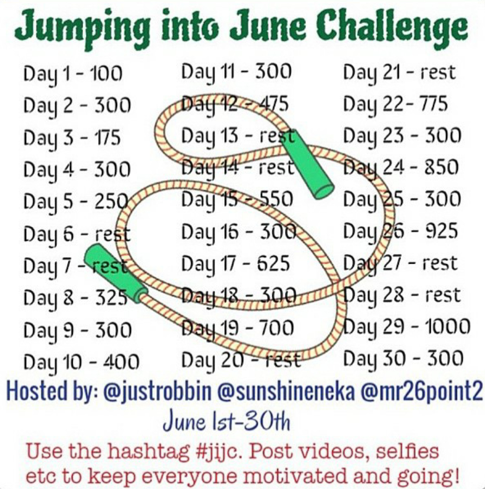 Jump Rope Into June 30-Day Challenge #Jijc | Jump Rope  30 Day Water Challenge Pdf