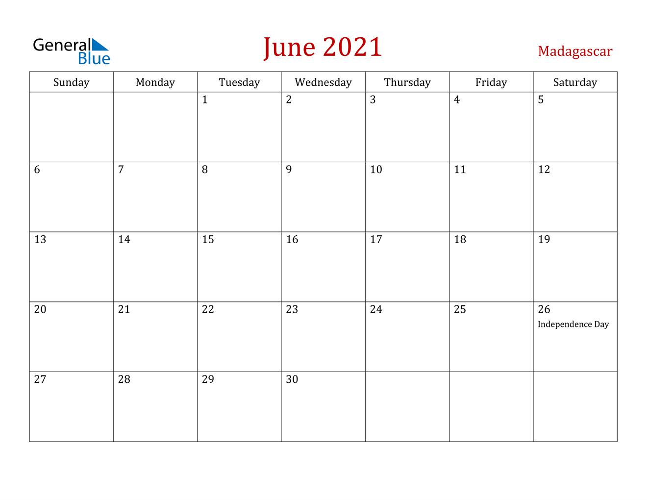 June 2021 Calendar - Madagascar  June 2021-June 2021 Calendar