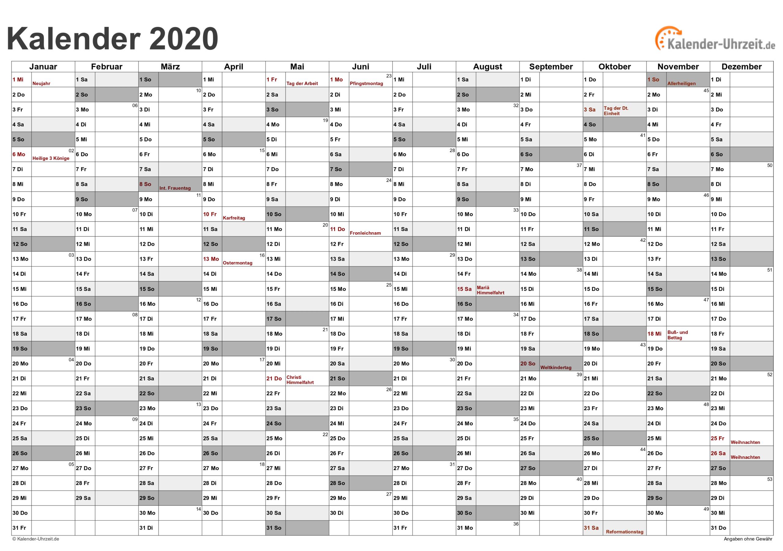 Kalenderblatt 2021 Nrw - Kalender 2020 Zum Ausdrucken  Jahreskalenderblatt 2021 Zum Ausdrucken