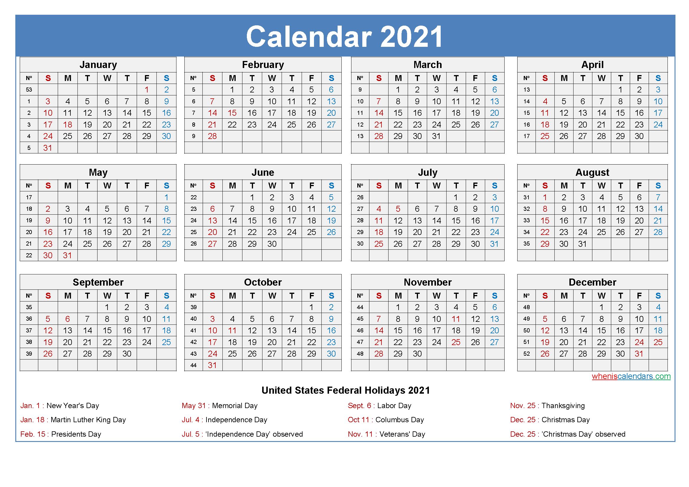 Large Desk Calendar 2021 With Holidays  2021 Calendar Template Large Print