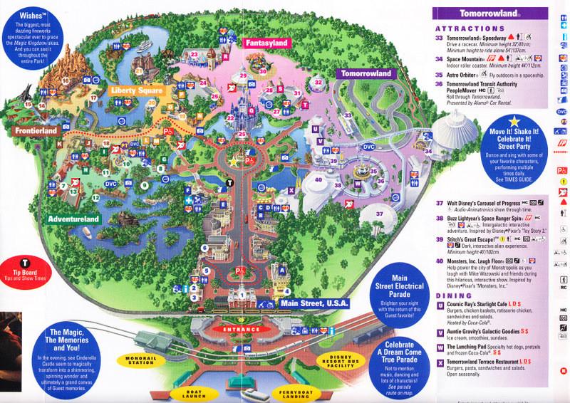 Magic Kingdom At Walt Disney World - 2011 Park Map  List Of Current Disney World Attractions